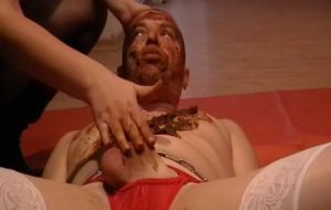 Goddess Margo – full scat feeding with chocking with GoddessAndreea eat shit